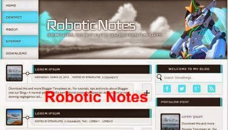 robotic notes premium blogger template 2014 for blogger or blogspot,premium free template download,blue white blogger template 2014 2015,2 column blogger template 2014