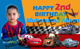 Cars, Lightning Mcqueen, Mater Themed Birthday Banner and Invitations with child photo