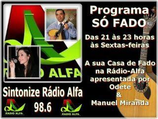 """Tout vendredi """"Só Fado"""" R Alfa 98.6 - 21h/23h"""
