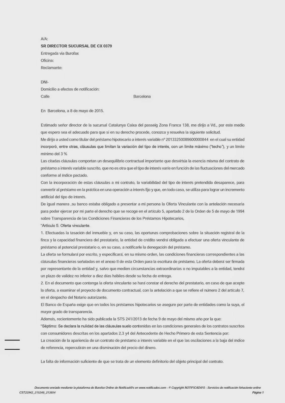Una clausula suelo en catalunya caixa mayo 2015 for Clausula suelo la caixa
