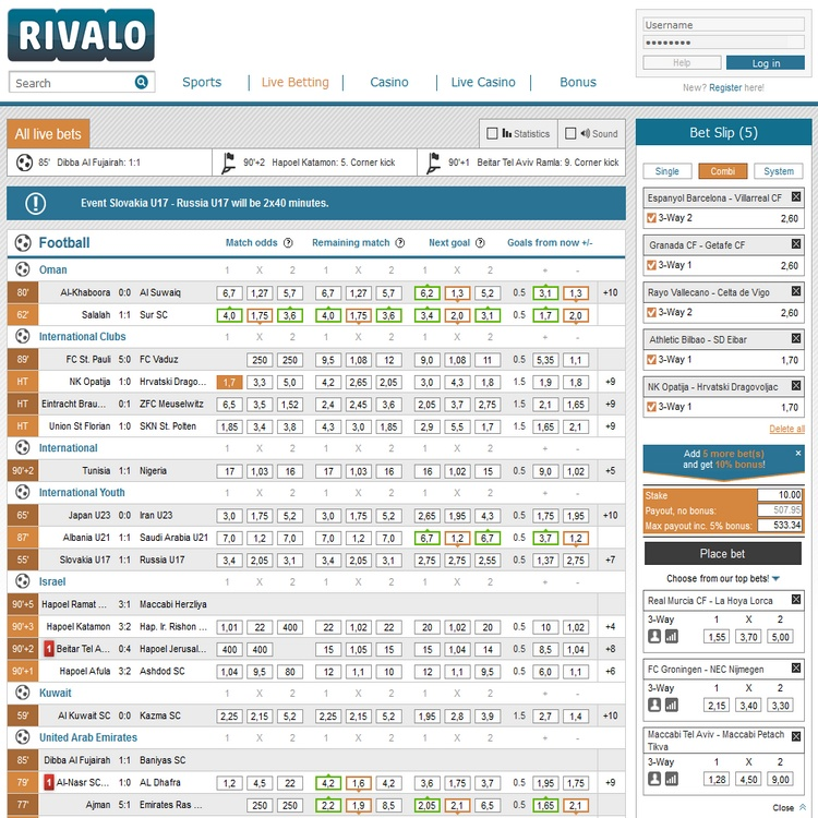 Rivalo Live Betting Offers