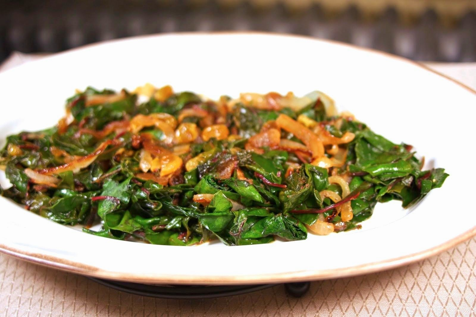 Swiss Chard with Golden Raisins: simplelivingeating.com