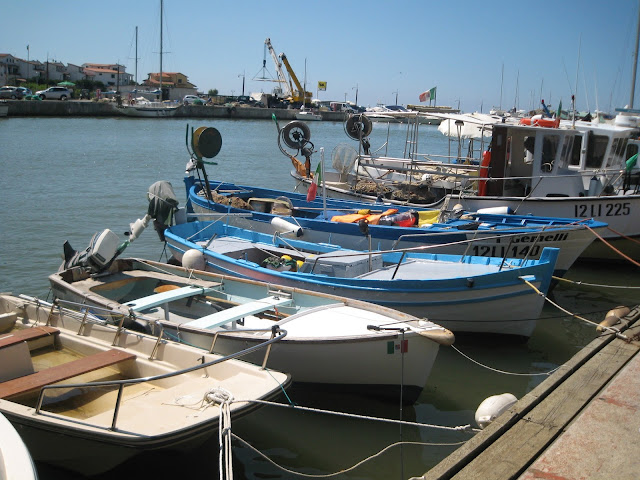 Small fishing boats lined one next to each other