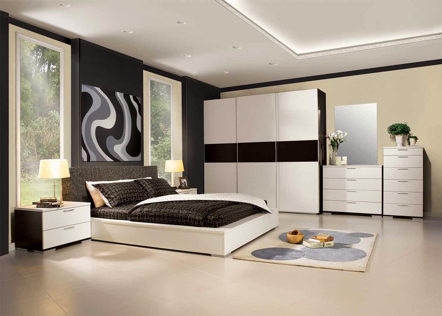 أحدث صيحات غرف النوم   أبيض و أسود « ديكور