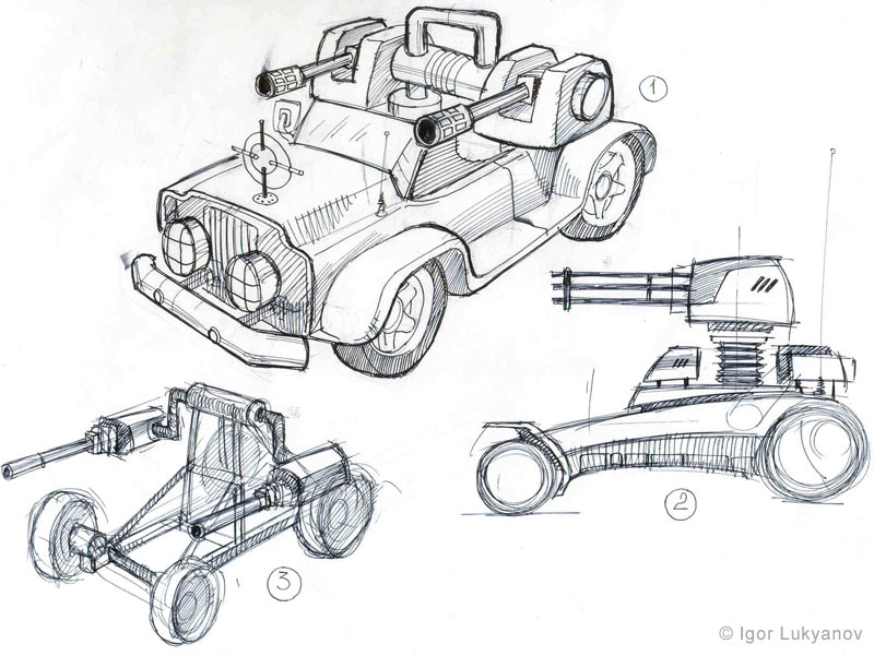 military vehicles concept sketch