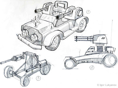 military vehicles (Jeep) concepts for a video game