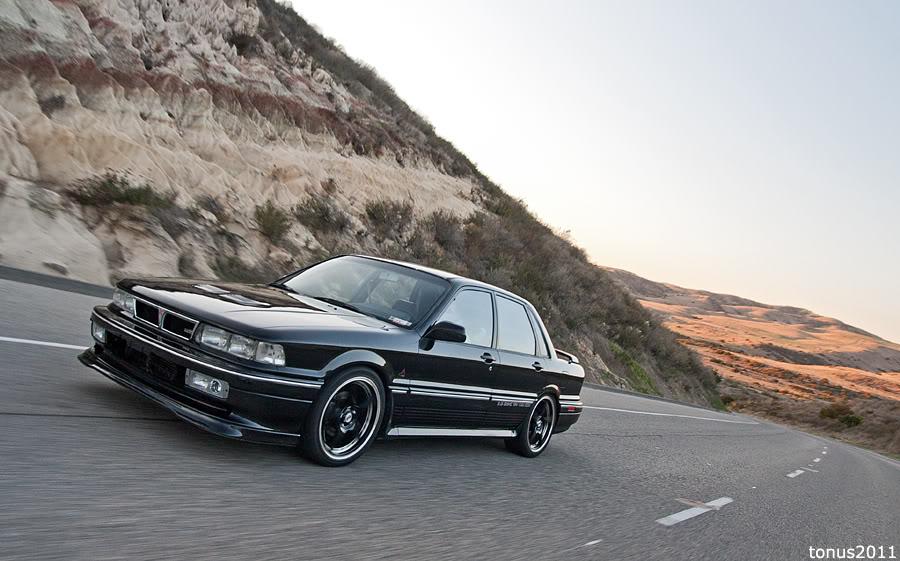 Mitsubishi Galant VI E30, czarne felgi, czarny samochód, japoński sedan, usportowiony, fotki, zdjęcia, jdm, tuning