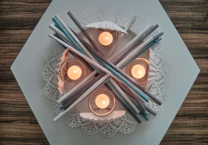 summer DIY shells candles tealights