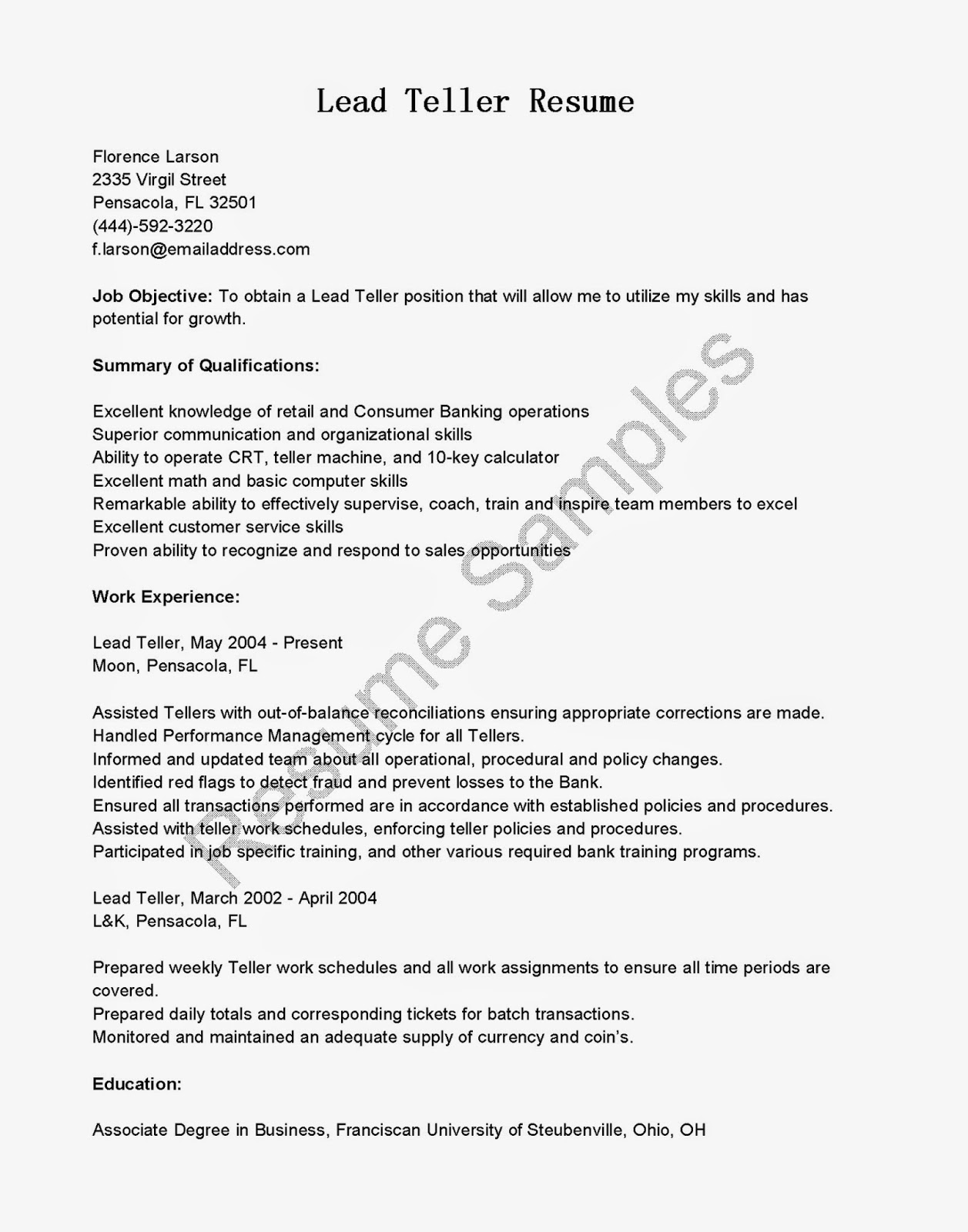 Resume Samples Lead Teller Resume Sample