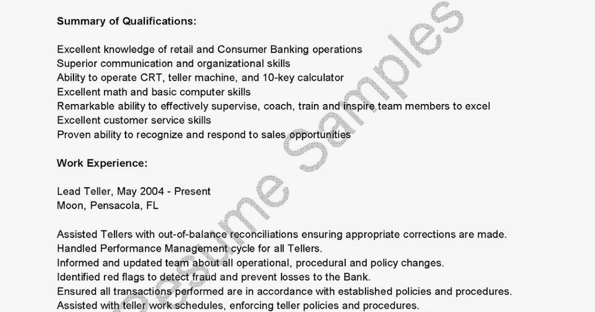 resume samples  lead teller resume sample