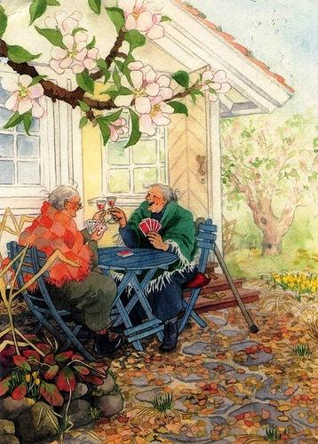 Финская художница Инге Лук, старушки - веселушки, старушки, старость, старость в радость, позитив