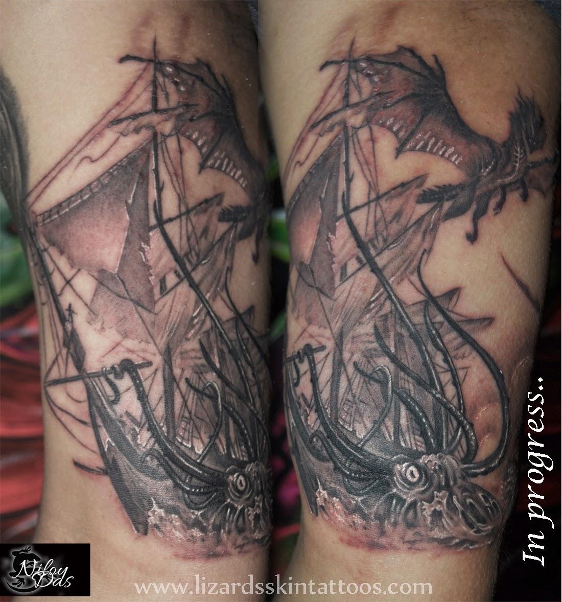 Lizard S Skin Tattoos Viking Half Sleeve In Progres By Niloy Das