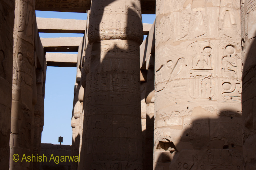 A number of pillars inside the Hypostyle Hall in the Karnak temple