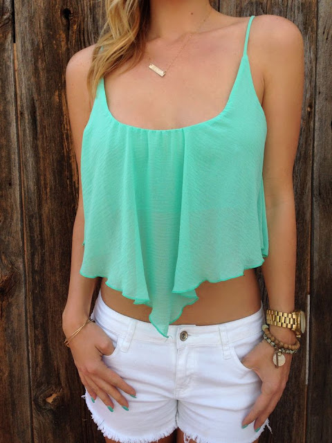 Chiffon mint crop top and white shorts. Best summer ideas for your closet.