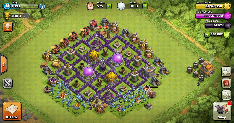 Contoh design farming base untuk clash of clans town hall level 7