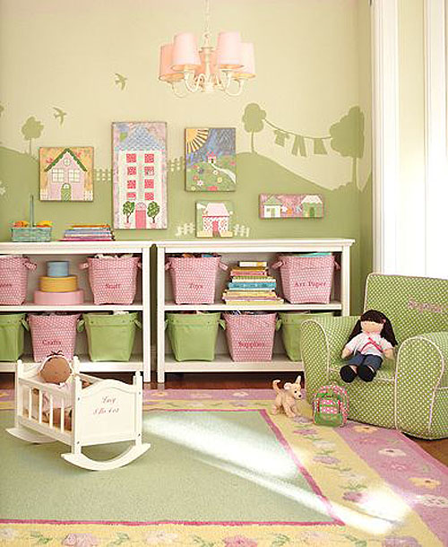 to paint a mural on one wall love this idea from pottery barn kids
