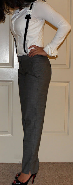 Anne Fontaine suspenders, Anne Fontaine blouse, Theory Pants, Louboutin heels on petite