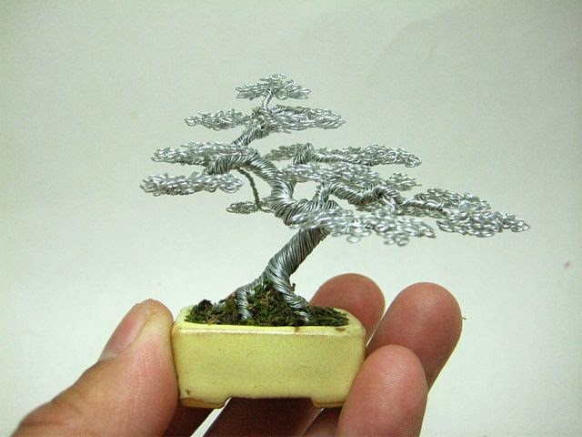 Cute Wire bonsai tree sculptures by Ken To