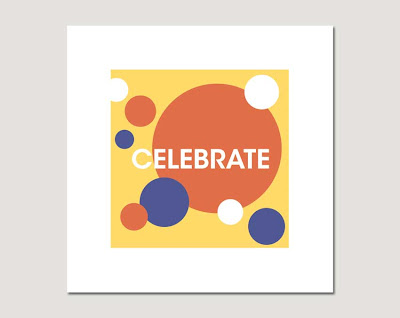 celebrate written on various circles on grey