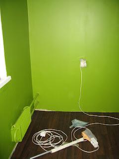 стены на кухне, второй слой зеленой краски, ночью со вспышкой