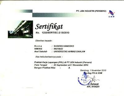contoh sertifikat magang
