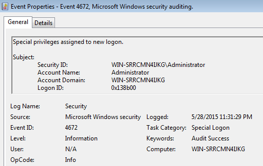 Special privileges assigned to new logon