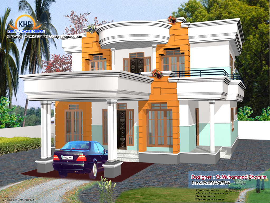 4 beautiful home elevation designs in 3d kerala home for Indian home design 2011 beautiful photos exterior