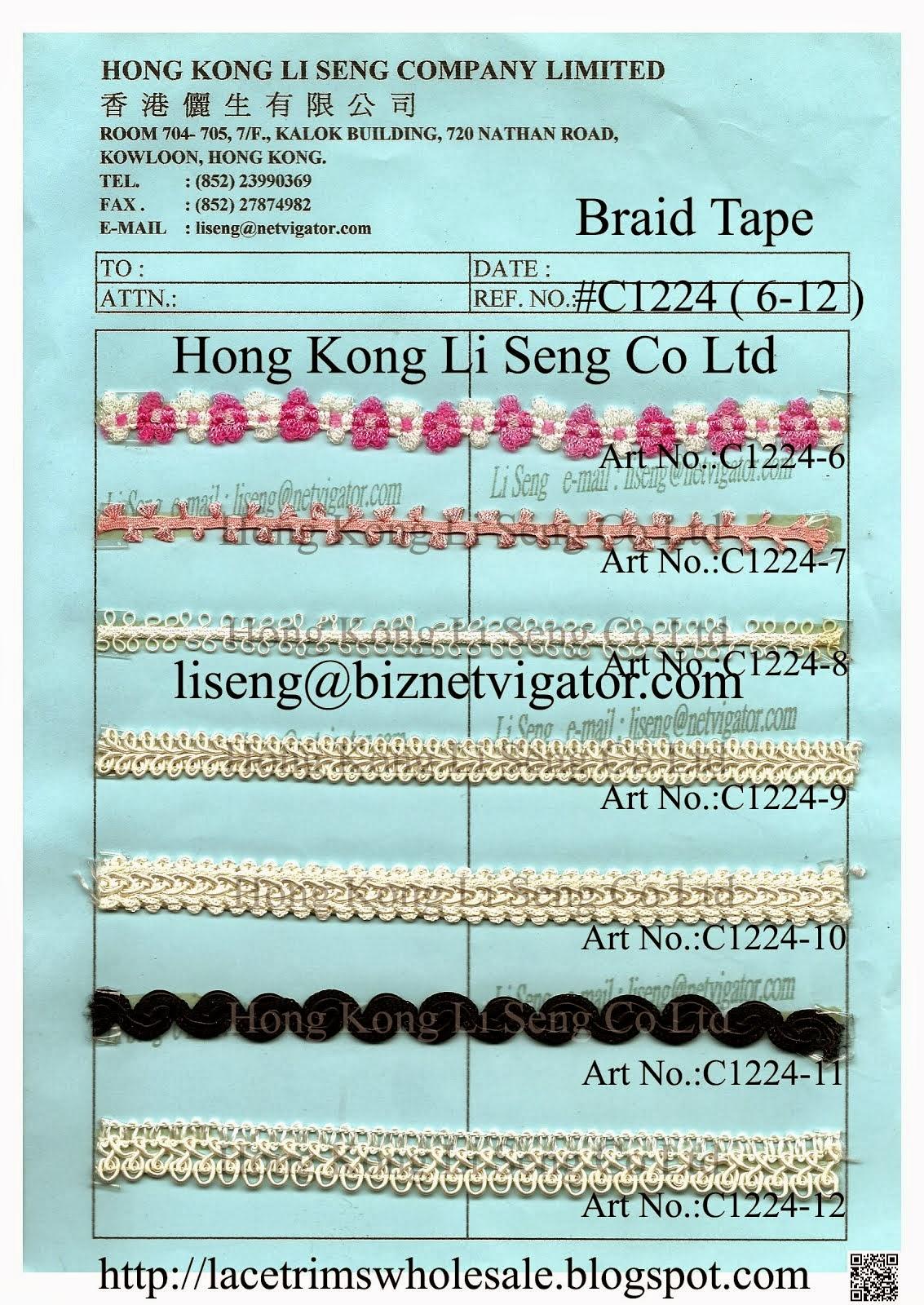 Braid Tape Wholesale and Supplier - Hong Kong Li Seng Co Ltd