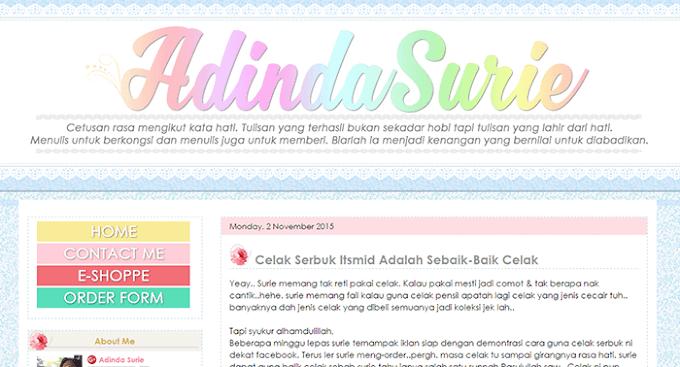 Tempahan Design Blog Adinda Surie