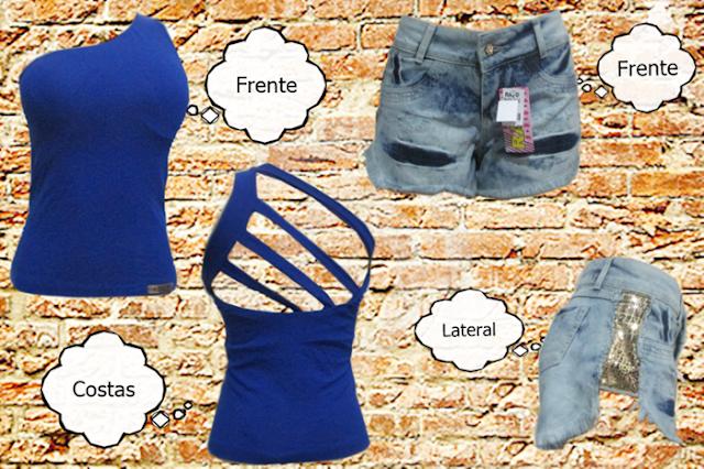 Blusa azul, e shorts