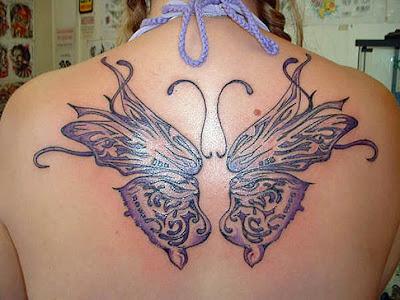 Tatuagem de borboleta feminina, grande, costas