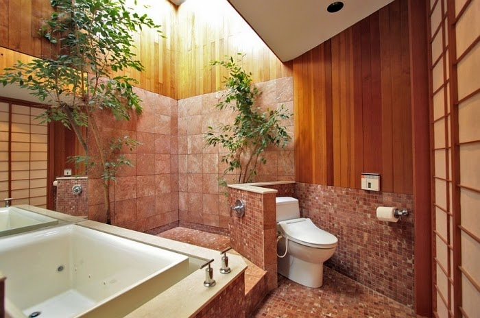 design ideas for bathrooms walls with mosaic tiles protect privacy of toilet