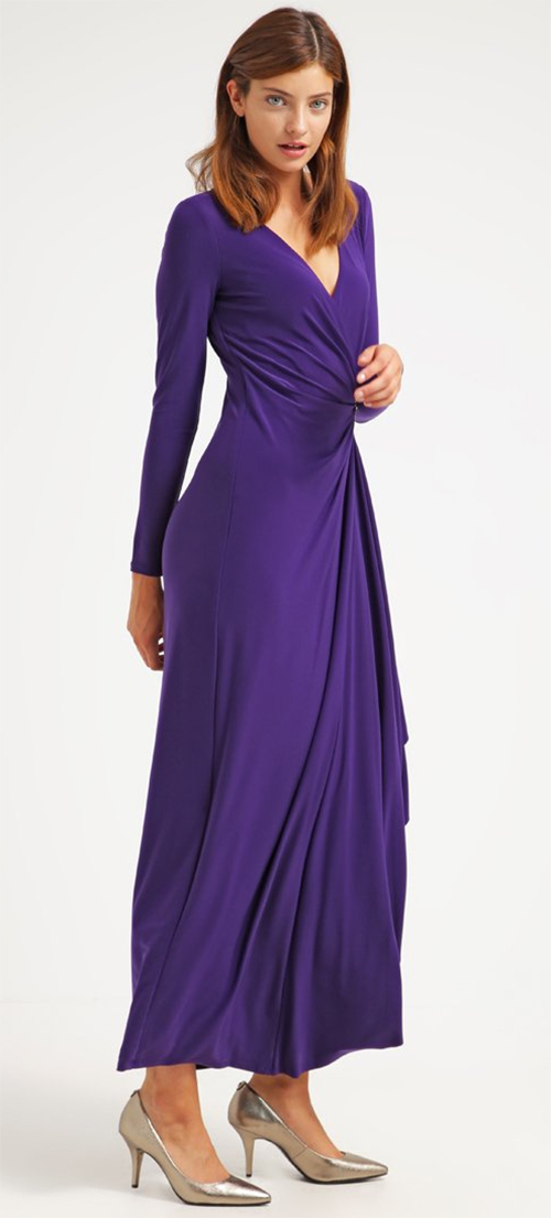 Robe de cocktail violette manches longues Lauren Ralph Lauren