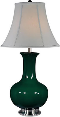 Lite Source LS-21325GRN Belicia 1 Light Ceramic Table Lamp, Polished Steel/Green With Fabric Shade