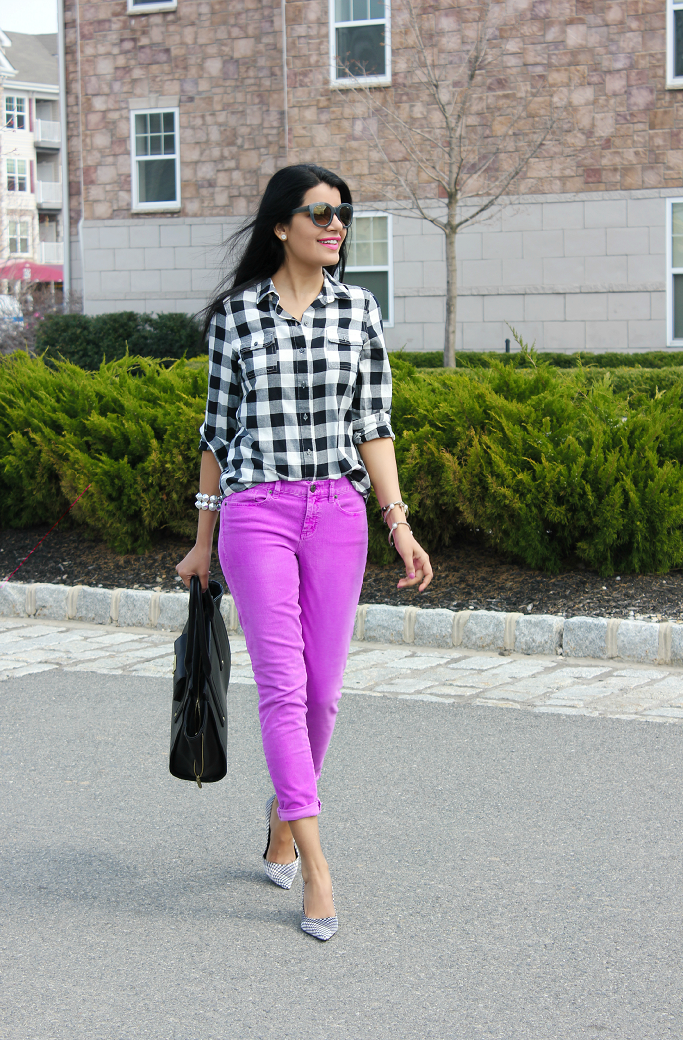 How to wear gingham shirts, J.Crew Toothpick cord, Old Navy Gingham Shirt, 3.1 Phillip Lim For Target Tote