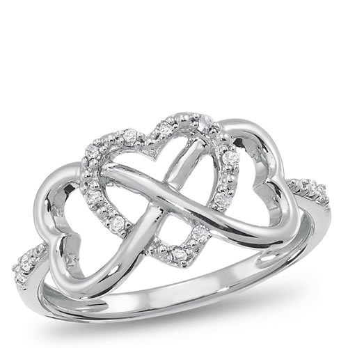 Infinity heart diamond ring