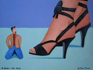A little man kneeling next to a woman wearing ribbon-style high heels