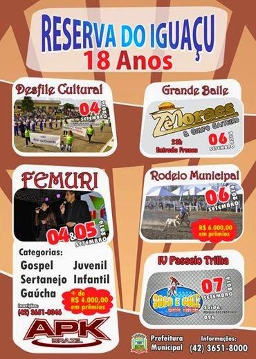 Reserva do Iguaçu:Município terá programação especial em comemoração ao seu 18º aniversário