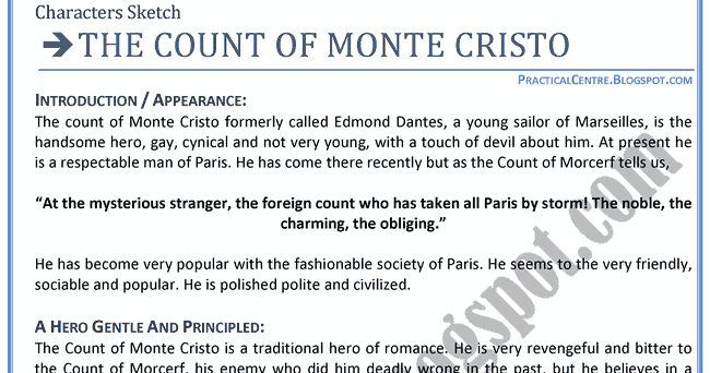 count of monte cristo thesis statement Here is an illustration of this thesis arguably the best example of this point comes  from the book the count of monte cristo in this book, edmond dantés is.