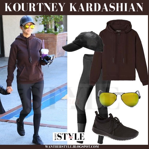 Kourtney Kardashian in burgundy yeezy adidas hoodie, black leggings and black nike juvenate sneakers what she wore workout style