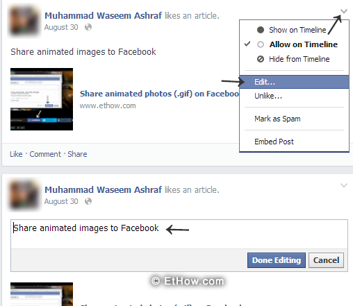 Facebook post edit functionality.