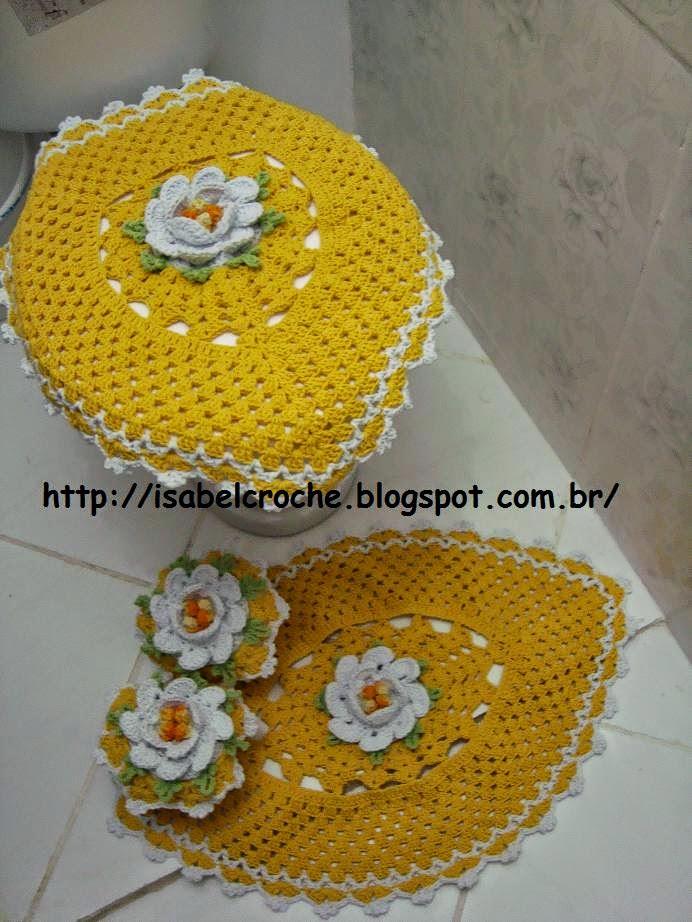Jogo De Banheiro Amarelo Com Vermelho : Isabel croch? jogo de banheiro amarelo em