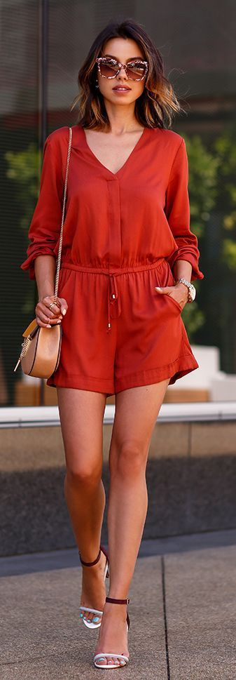 Summer red romper, heels, purse