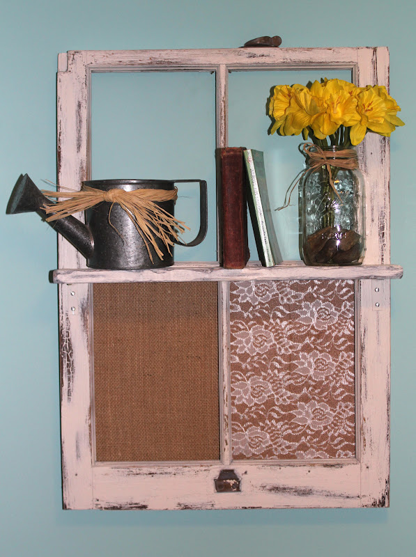 diy vintage window frame shelf