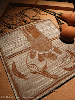 lino carving with some details done
