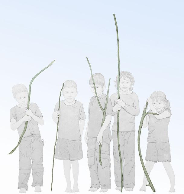 niños con palos , juego, dibujo