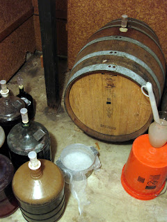 The barrel room starter, ready to catch some microbes.