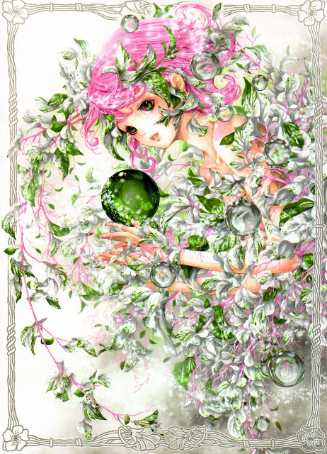anime girl,green sphere, Tukiji Nao