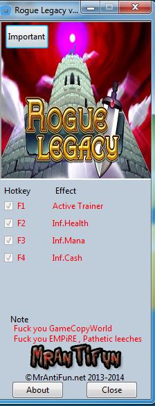 Rogue Legacy v1.2.0b Trainer +3 MrAntiFun