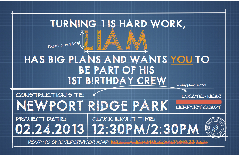 Blatant borrower liams first birthday construction party my husband designed the invite for liams party on publisher we went with a blue print look and thought it was a great way to kick off this theme malvernweather Image collections